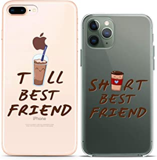 Cavka TPU Silicone Matching Couple Cases for Apple iPhone 11 Pro Xs Max 6s 8 Plus 7 Xr SE X 5s Lightweight Short BFF Coffee Tall Cute Soft Love Print Flexible Funny Friendship Slim fit Art