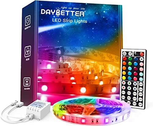 DAYBETTER Led Lights for Bedroom, 5050 RGB Color Changing Strip Lights Remote Control for Home Decoration, Kitchen