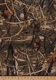Field's Fabrics Realtree Advantage Max 4 Slightly Brushed Medium/Heavy Weight Marsh Camouflage Twill Leaves Leaf Branches Twigs Grass Camo Fabric by The Yard (2681i-6N)