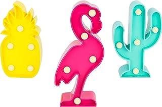 Invero - Juego de 3 Mini Luces LED Decorativas de márquee Tropicales, Incluye Flamenco, Cactus y piña, Ideal para decoración, Fiestas temáticas y Mucho más