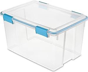 Sterilite 19344304 54 Quart/51 Liter Box, Aquarium Latches and Gasket, 4-Pack, Blue/Clear