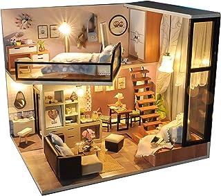 EIRMEON DIY Miniature Dollhouse Kit with Furniture,3D Wooden Dollhouse Miniature DIY Doll House with Dust Proof,1:24 Scale...