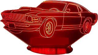 FORD MUSTANG 1969, Lampada illusione 3D con LED - 7 colori.