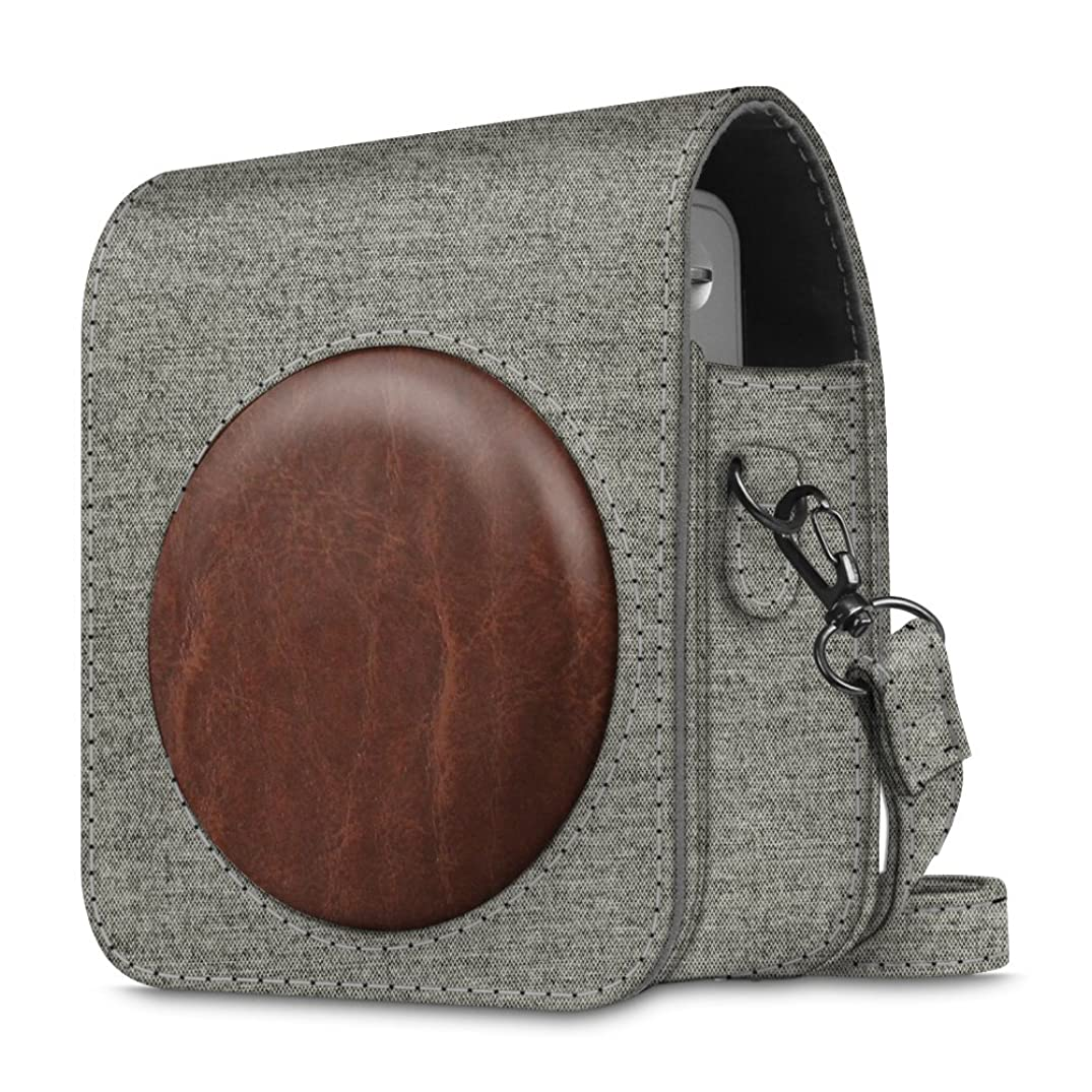 Fintie Protective Case Compatible with Fujifilm Instax Mini 90 Neo Classic Instant Film Camera - Premium Vegan Leather Bag Cover with Removable Strap, Denim Grey