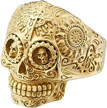 INRENG Men's Stainless Steel Silver Gold Gothic Cross Skull Ring Green Eye Vintage Flower Carved Halloween
