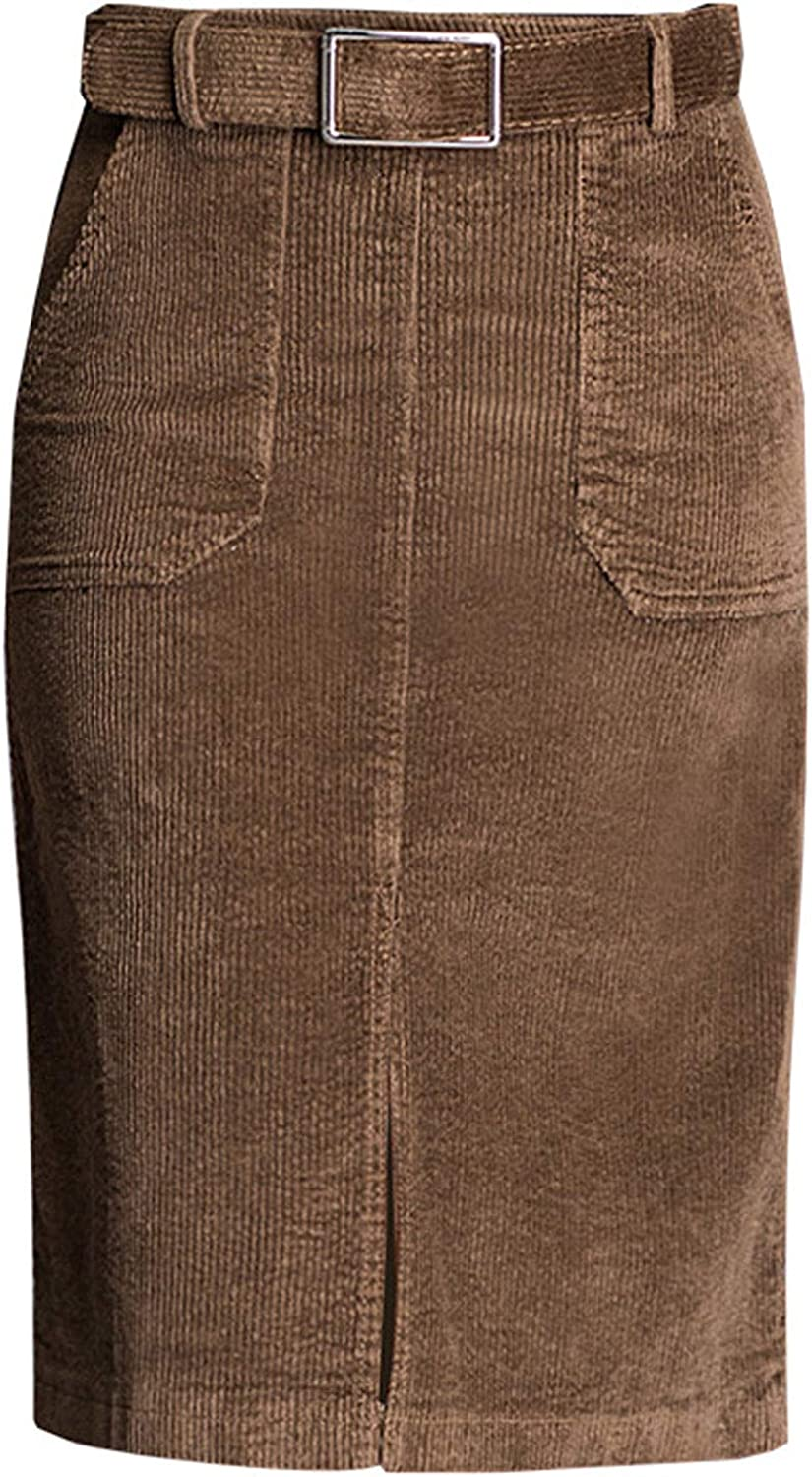ebossy Women's High Waisted Knee Length Belted Corduroy Pencil Skirt with Slit