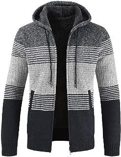 Autumn Winter Packwork Hooded Zipper Jacket Knit Cardigan Long Sleeve Coat Men