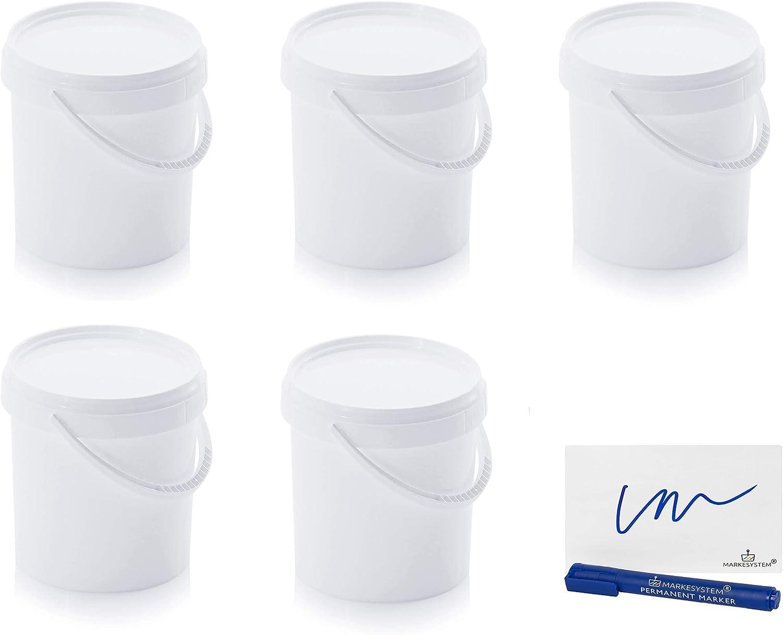 MARKESYSTEM Cubo HERMÉTICO Catering Pack de 5 X 1,18 litros - Cubos de Plástico con Tapa - Contenedores Apilables - Envasar Alimentos, Líquidos y Pinturas - Polipropileno Blanco + Kit Etiqueta