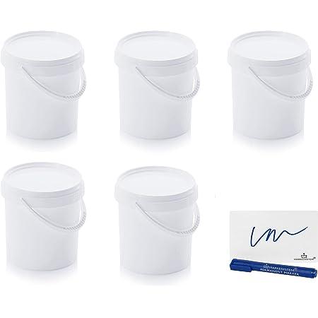 MARKESYSTEM - Seau Hermétique Pack de 5 x 1,18 litres - Conteneurs empilables en plastique avec couvercle - Récipient alimentaire, catering industriel, liquides - Polypropylène blanc + Kit étiqueté