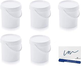 MARKESYSTEM - Seau Hermétique Pack de 5 x 1,18 litres - Conteneurs empilables en plastique avec couvercle - Récipient alim...