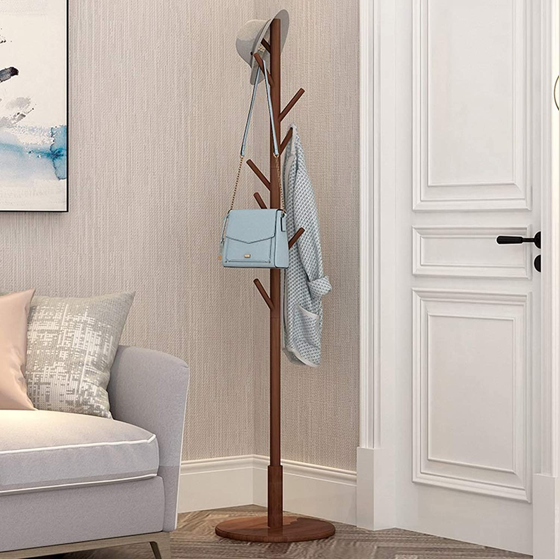 Coat Rack Coat Rack Household Floor Hanger Entry Bedroom Multi-Purpose Solid Wood greenical Hanger for Jacket Purse Scarf Umbrella (color   Brown)