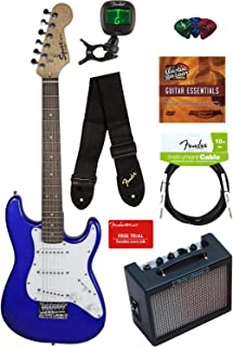 Squier by Fender Mini Strat Electric Guitar - Imperial Blue Bundle with Amplifier, Instrument Cable, Tuner, Strap, Picks, Fender Play Online Lessons, and Austin Bazaar Instructional DVD
