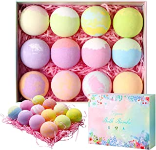 FYMRIA Bath Bombs Gift Set, Bath Bombs for Women Relaxing Muscles with Pure Natural Essential Oil,SPA Bubble Fizzies Relieve Stress and Keep Skin moisturized for Kids,Mom, Girlfriend (12x3.14oz)