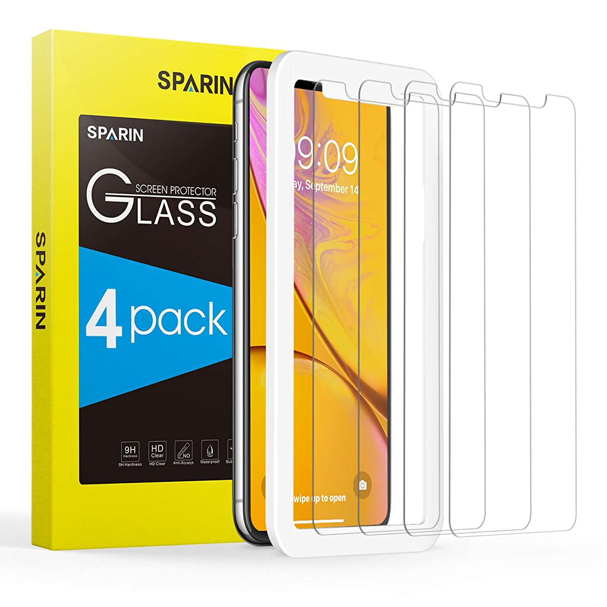 SPARIN Screen Protector for iPhone XR, [4 Pack] Tempered Glass Screen Protector for iPhone XR (6.1 Inch,2018 Release) - Alignment Frame/High Definition/Scratch Resistant