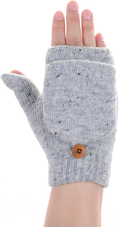 BYOS Womens Winter Plush Fleece Lined Convertible Fingerless Knit Mitten Gloves