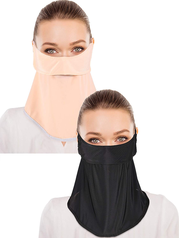 2 Pieces Unisex Sun Protective Face Bandana Women UV Protection Face Scarf for Summer Outdoor Activities (Black, Skin Color)