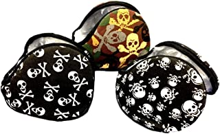 3 Pair Behind the Head Skeleton Skull Crossbones Winter Ski Wrap Around Neck Earmuffs, Canvas Exterior Black, White, and Camouflage Super Soft Faux Fur Lined For Youth and Adults