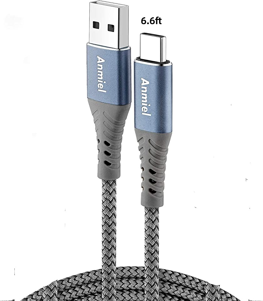 Extra Long USB C Cable 2M ANIME PS5 Controller Charger Cable USB A to Type C Cable Premium Nylon Braided Charger Cord,for Samsung Galaxy S10/S9/S8 Plus,Note 10 9 8,PS5,LG V30 V20 G6 G5,Moto