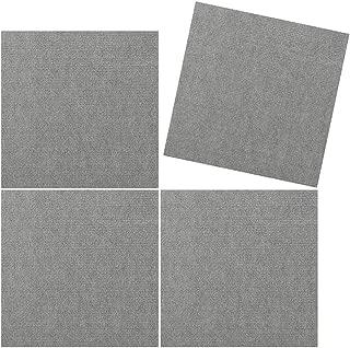 TRILUC, 12 x 12 Place and Stick Carpet Tile Squares. Non Slip Backing & Washable Floor Tile - 4 Pc Set - Light Gray