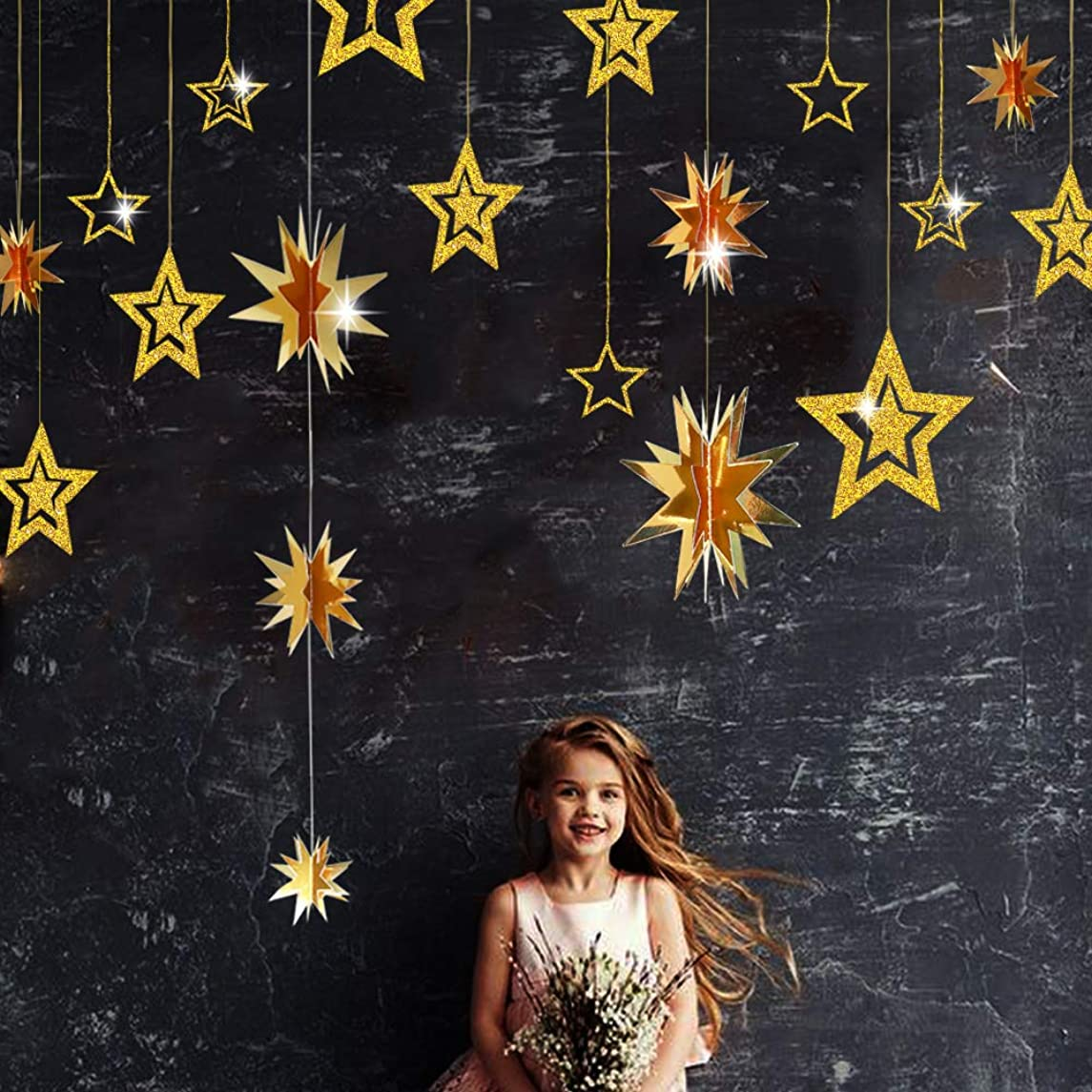 Gold Twinkle Star Party Decoration Kit Metallic Glitter 3D Hanging Star Bunting Garland Twinkle Star Cutouts Decor for Nursery Kids Boys Girls room Birthday Wedding Baby Shower Christmas Party Supply