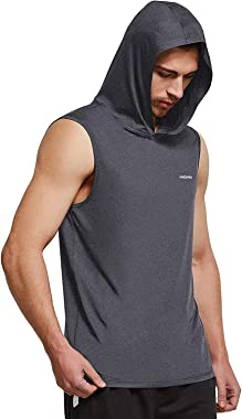 Ogeenier Men's Dry Fit Muscle Sleeveless Hoodie Workout Hooded Tank Tops Shirts Athletic Gym T-Shirt