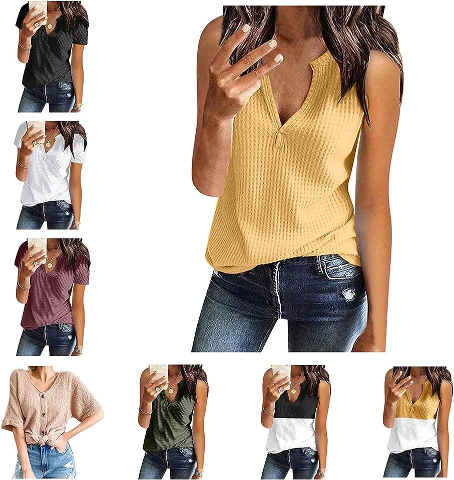 WUHOVILA Womens Tank Tops V Neck Waffle Knit Summer Casual Short Sleeve/Sleeveless Loose Tee Shirts