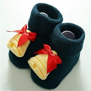 Fgolphd, Fgolphd Infantil de Navidad de la muñeca del bebé recién Nacido Calcetines Mantener Caliente Calcetines Elk Infantil for niños Antideslizantes del niño Calcetines de Navidad for 0-18 Meses