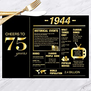 75th Birthday Placemats Decorations for Women or Men | 1944 Sign | 70th Anniversary Decorations | 75 Years Wedding Anniversary Decorations | 75th Party Table Decorations | Set of 30