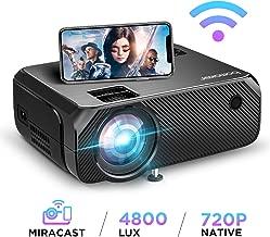 Proyector WiFi, 4800 Lúmenes BOMAKER Resolución Nativa 1280*720P Inalámbrico Proyector de Cine en Casa Soporte Full HD 1080P Mini Portátil Proyector GC557 HDMI/USB/VGA/AV/Micro SD