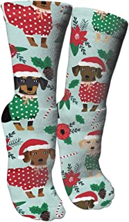 Christmas Sweaters Cute Dachshunds Compression Socks For Men & Women - BEST For Running, Nurses, Shin Splints, Flight Travel, Skiing & Maternity Pregnancy - Boost Athletic Stamina & Recovery
