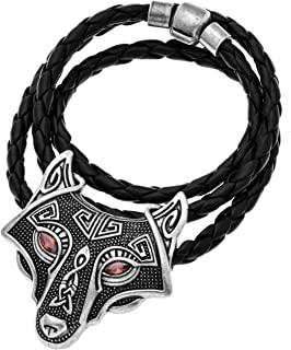 W WOOGGE Men`s Necklace Norse Vikings Pendant Choker Necklace Wolf Head Nordic Necklace Original Animal Gothic Amulet Jewelry for Women