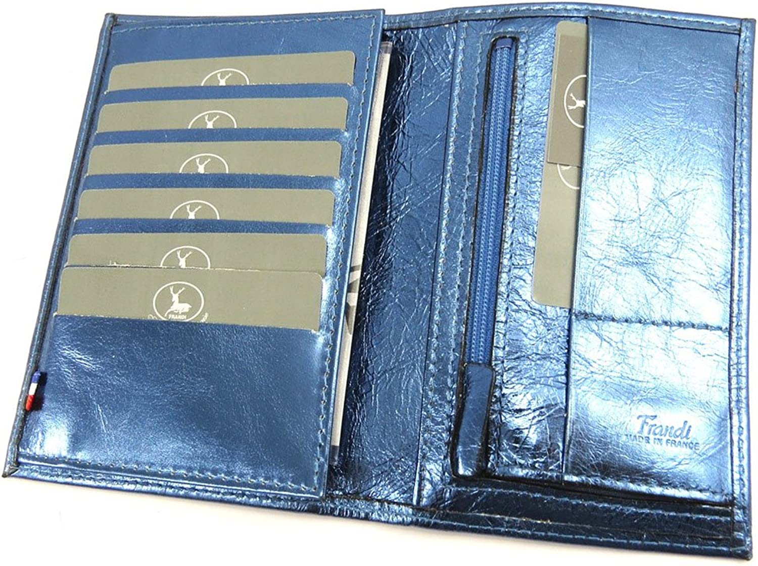 Leather wallet 'Frandi'bluee electra (+ cards).