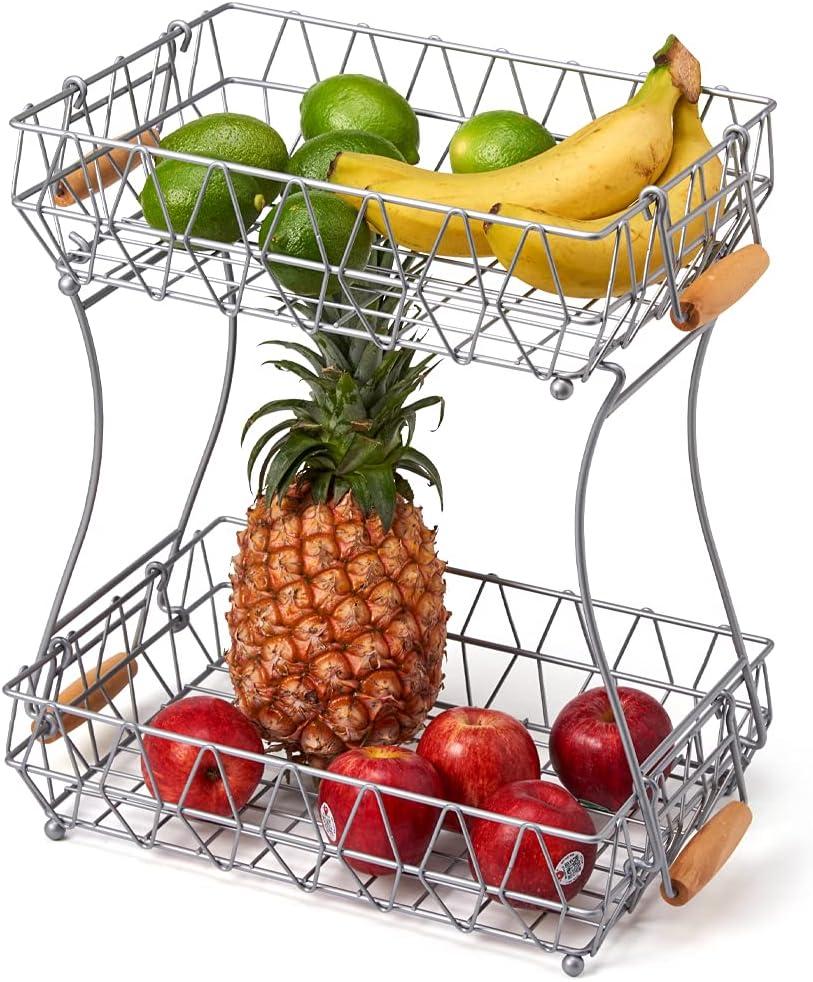 EZOWare 2 Niveles Frutero en Metal, Doble Canastas Desmontables con Asas, Organizador de Encimeras Multiusos Almacenaje Decorativo para Frutas, Verduras, Bocadillos, Cocina, Baño - Plata