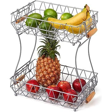 EZOWare Corbeille à Fruits à 2 Étages en Métal, Deux Panier de Rangement Amovible avec Poignées, Organisateur pour Fruits, Légumes, Pain, Collations, Cuisine, Salle de Bain - Argent
