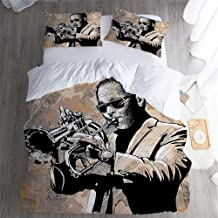 QC Home store Hotel Luxury Bed Sheet Set Sale,California King 3 Piece Set,Jazz Music Decor Style of an African Musician Sunglasses Playing Trumpet Beige Black Bed Sheet Set.