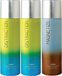 Ajmal 2 Distraction & Magnetize Deodorant Combo Pack of 3 Deodorants 200ml each (Total 600ML) for Men & Women + 4 Parfum T...
