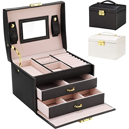 Boîte à bijoux, Gifort Coffret pour bijoux Boîte à montre boîte à maquillage avec 2 Tiroirs 3 Couches Coffre à Bijoux Verrouillable avec Miroir, pour Colliers, Bagues, Bracelets