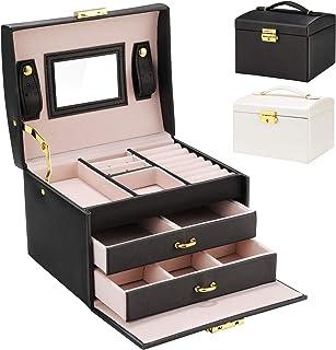 Boîte à bijoux, Gifort Coffret pour bijoux Boîte à montre boîte à maquillage avec 2 Tiroirs 3 Couches Coffre à Bijoux Verr...