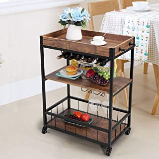 JAXPETY 3-Tier Industrial Bar Mobile Serving Kitchen Cart...