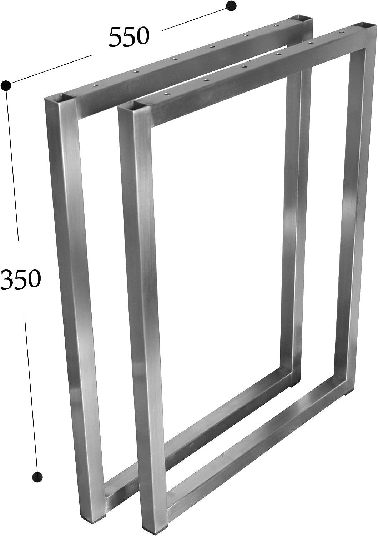 Couchtisch Tischkufe Tischgestell Edelstahl 201 20x20 Rahmentisch Kufengestell Tischuntergestell (Breite 55 cm x Hhe 35 cm)