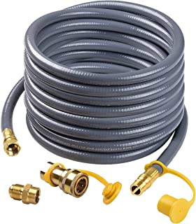"Camplux 24Ft 1/2"" Male Flare Quick Connect Natural Gas Hose, Low Pressure Appliance with Quick Connect/Disconnect 3/8'' Female Flare by 1/2'' Male Flare Adapter"