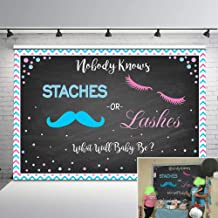 Mehofoto Lashes or Staches Gender Reveal Backdrop Boy or Girl Pink Blue Baby Shower Party Background 7x5ft He or She Chalkboard Backdrops for Photoshoot Props
