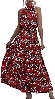 Kiyotoo Women's Sleeveless Halter Neck Polka Dot Floral Print Backless Long Beach Party Maxi Dress Beach Long Dress with Belt