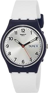 ساعة للجنسين من سواتش بمينا فضية وسوار من السليكون - GN720