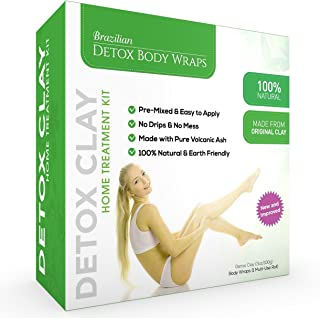 Brazilian Detox Clay Body Wraps [8-Applications] Slimming Home Spa Treatment for Cellulite, Weight Loss, Stretch Marks | Natural, Purifying Detoxifier for Smooth, Toned Skin (8 Pack)