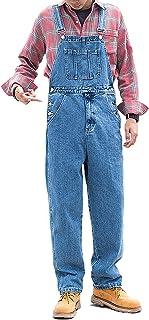 X-xyA Men's Casual Denim Bib Overalls Dungarees Classic Work Jeans Jumpsuits,Light Blue,XXL