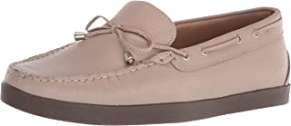 Driver Club USA Women's Leather Made in Brazil Boat Shoe with Tiebow Detail, Cream grainy/Natural sole, 5 M US