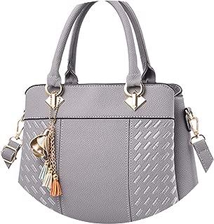 Fashion Women Handbags Tassel PU Leather Totes Bag Top-handle Embroidery Crossbody Bag Shoulder Bag Lady Simple Style