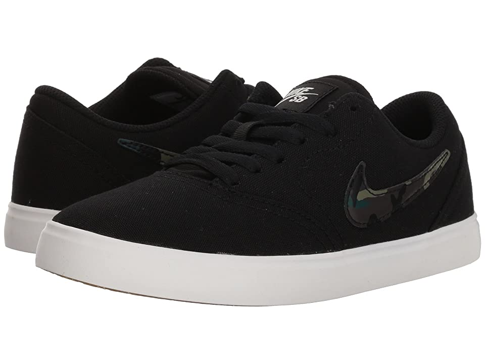 Nike SB Kids Check Canvas (Big Kid) (Black/Medium Olive/Pro Green) Boys Shoes