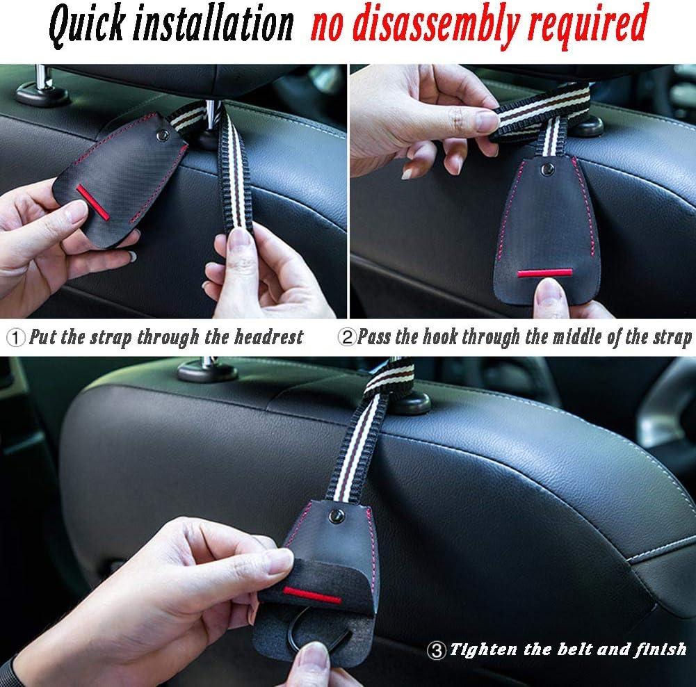 2-Pack Durable Hangers with Intimate Design Portable Organizer Car Hooks Premium Auto Seat Back Headrest Hanger Holder Hook for Bag Purse Hook for Car Headrest